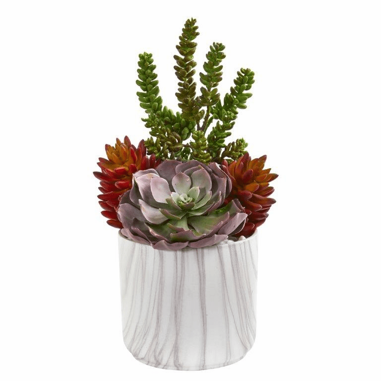 16� Echeveria and Sedum Succulent Artificial Plant in Vase
