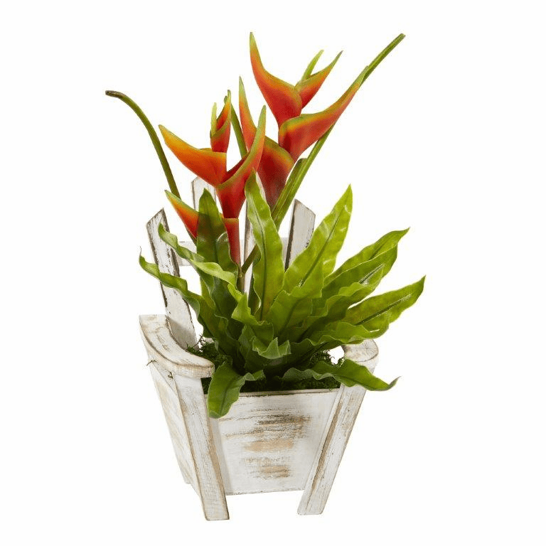 16� Heliconia and Birds Nest Fern Artificial Plant in Chair Planter