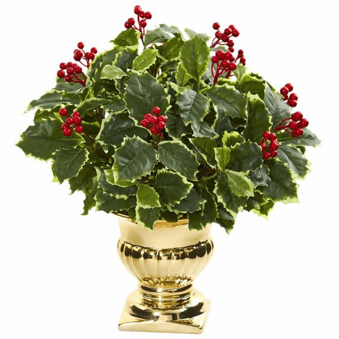 "16"" Holly Leaf Artificial Plant in Gold Urn (Real Touch)"