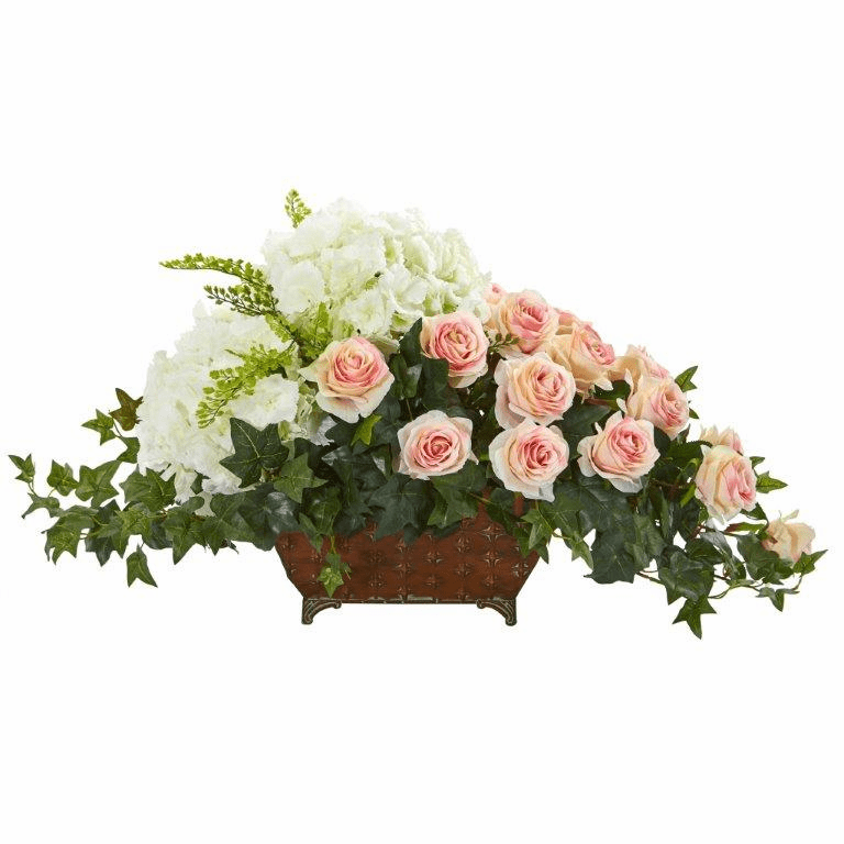 "16"" Hydrangea & Rose Artificial Arrangement in Metal Planter - Light Pink"