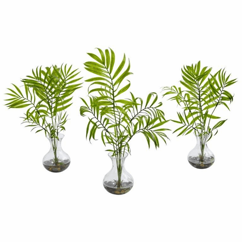 "16"" Mini Acera Palm Artificial Plant in Vase (Set of 3)"