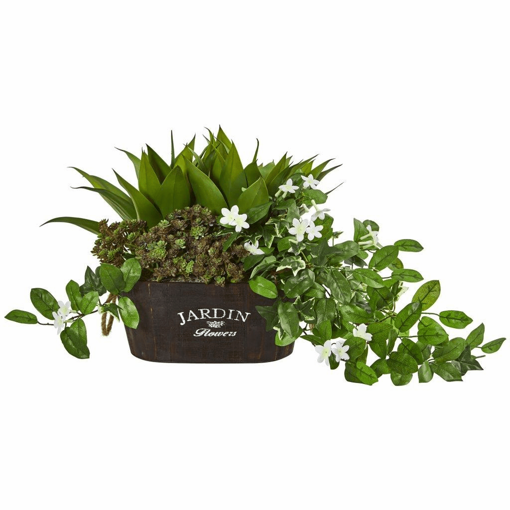 16� Mixed Succulents, Stephanotis and Ivy Artificial Plant