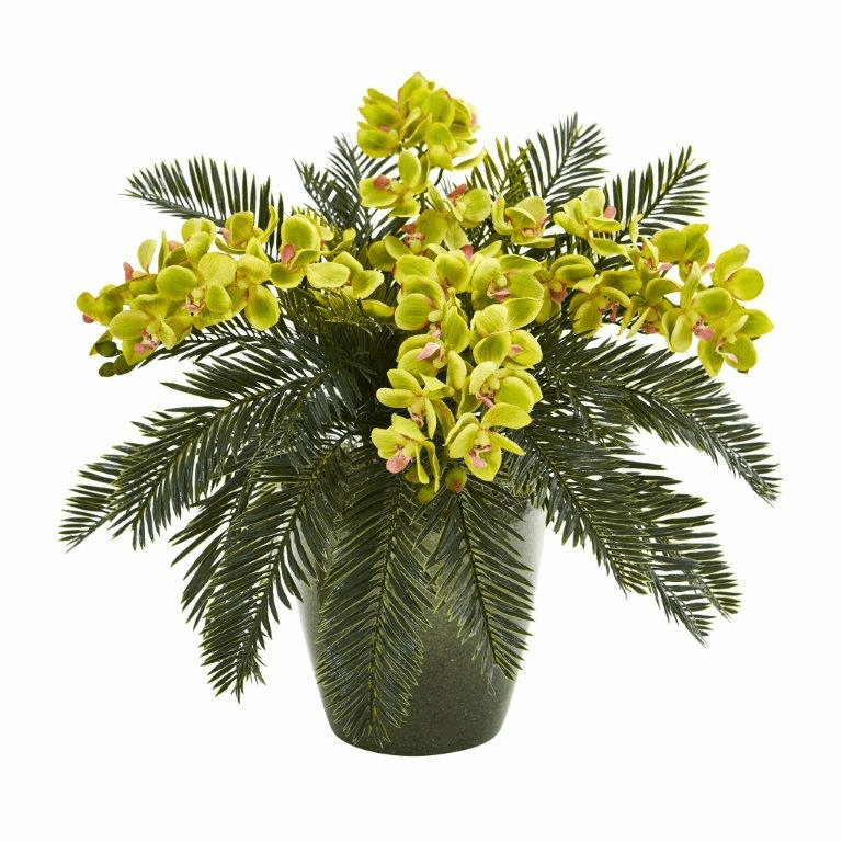 16� Phalaenopsis Orchid and Cycas Artificial Plant in Decorative Planter - Green