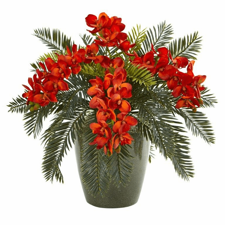16� Phalaenopsis Orchid and Cycas Artificial Plant in Decorative Planter - Orange