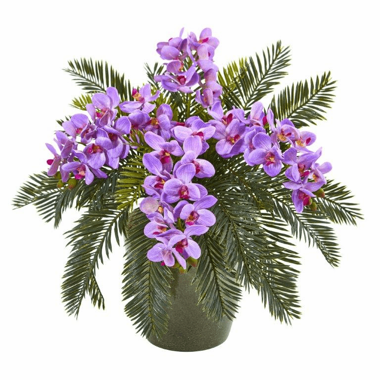 16� Phalaenopsis Orchid and Cycas Artificial Plant in Decorative Planter - Purple