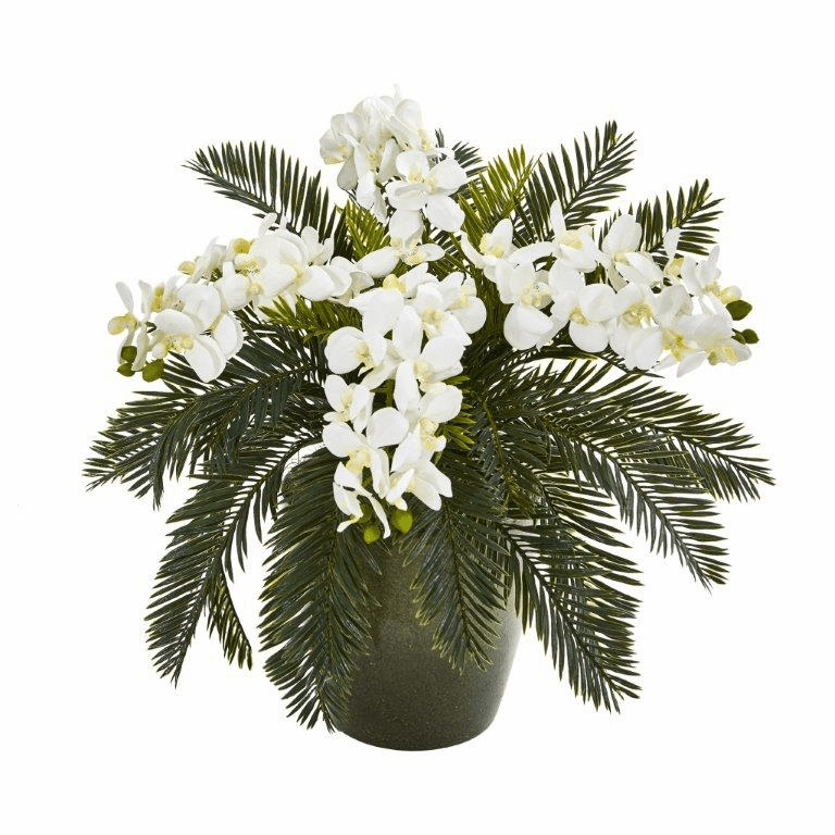 16� Phalaenopsis Orchid and Cycas Artificial Plant in Decorative Planter - White