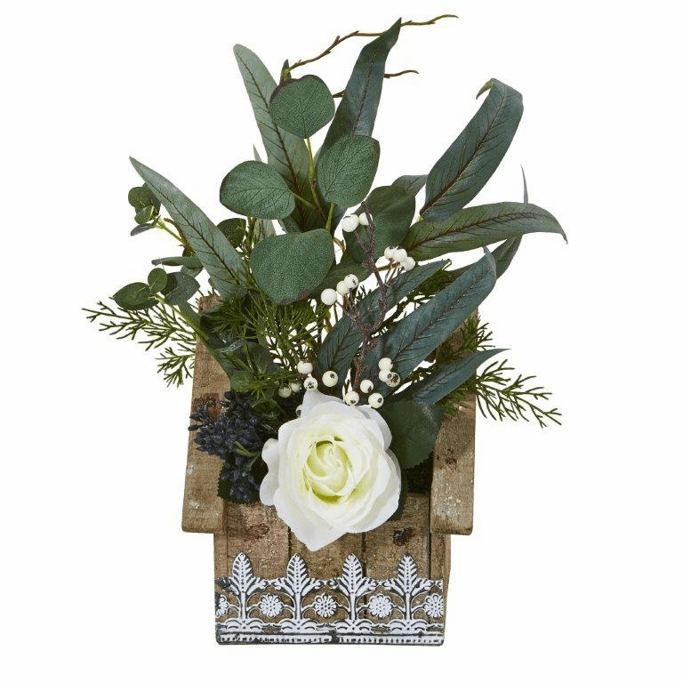 16� Rose and Eucalyptus Artificial Arrangement in Hanging Floral Design House Planter