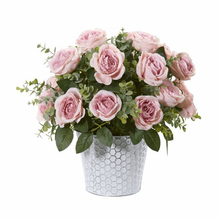 16� Rose and Eucalyptus Artificial Arrangement in Tin Vase - Pink