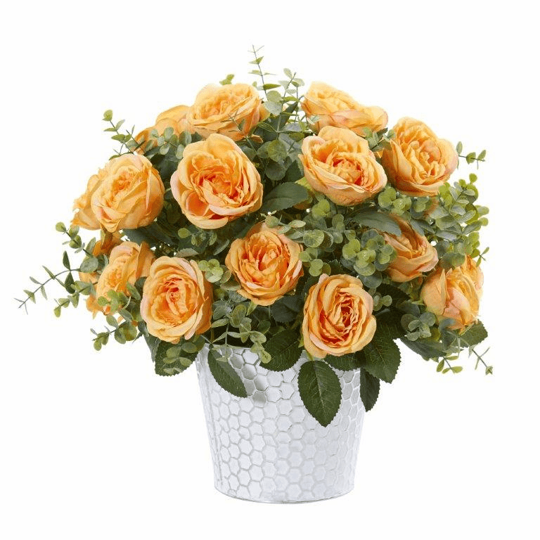 16� Rose and Eucalyptus Artificial Arrangement in Tin Vase - Yellow