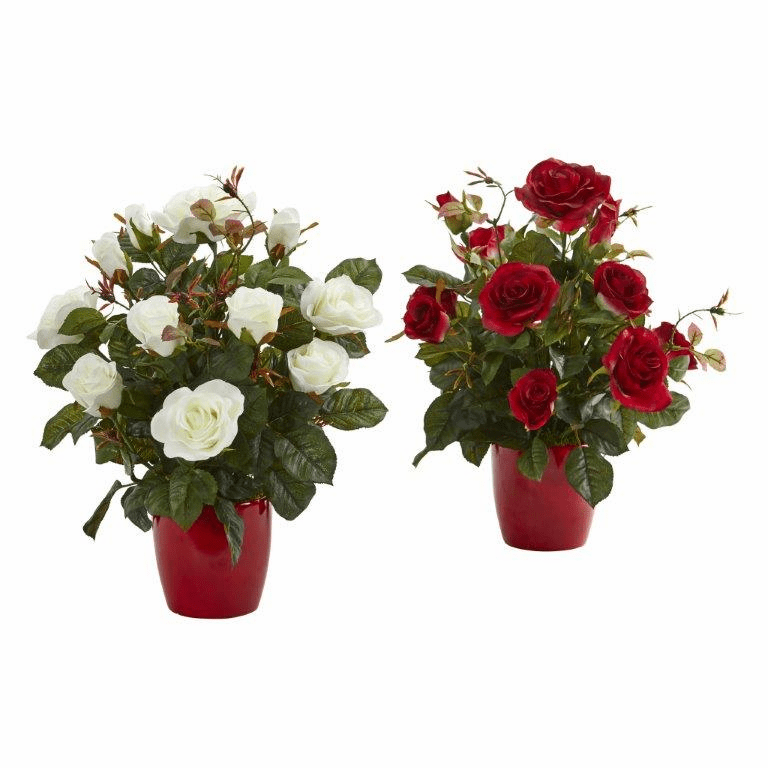"16"" Rose Artificial Plant in Red Planter (Set of 2)"