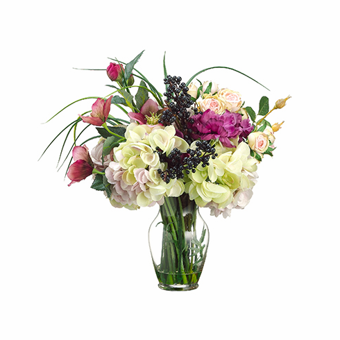 "16""  Silk Helleborus, Anemone Flower, Rose and Hydrangea Bouquet Arrangement in Glass Vase"