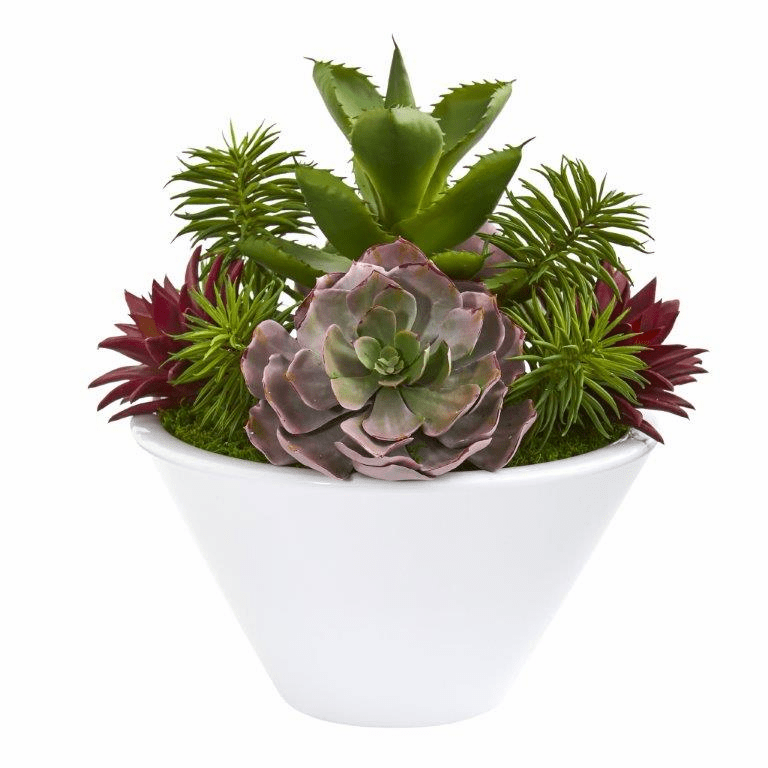 16� Succulent Garden Artificial Plant in White Bowl Vase