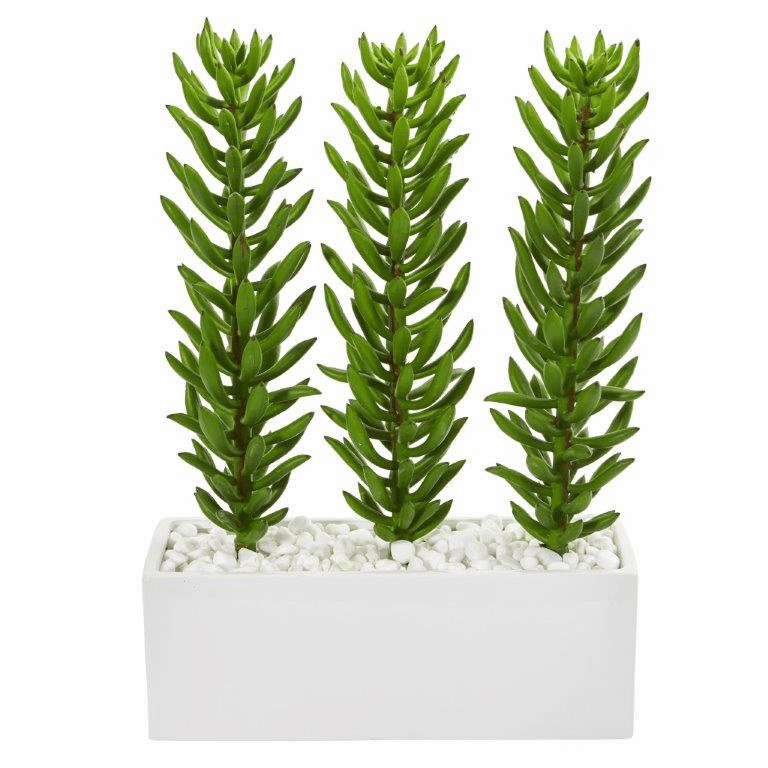 16� Succulent Spikes Artificial Plant in White Ceramic Vase