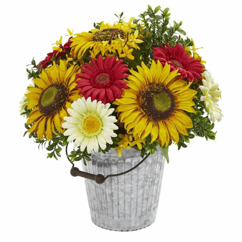"16"" Sunflower and Gerber Daisy Artificial Arrangement in Metal Bucket"