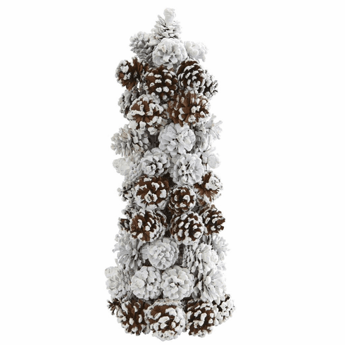 "17.5"" Artificial Frosted Pine Cone Tree Decoration"