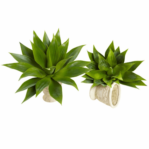 "17"" Agave Succulent Plant Artificial Cactus (Set of 2)"