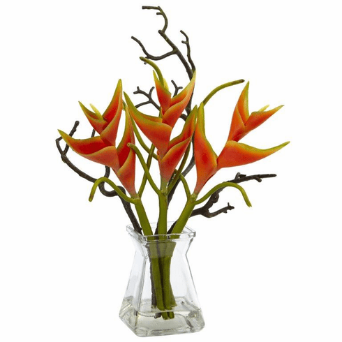 "17"" Artificial Heliconia Flower Arrangement in Glass Vase"