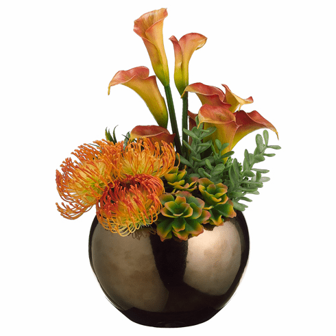 "17"" Artificial Lily, Protea Flower and Agave Plant Arrangement in Decorative Ceramic Bowl"