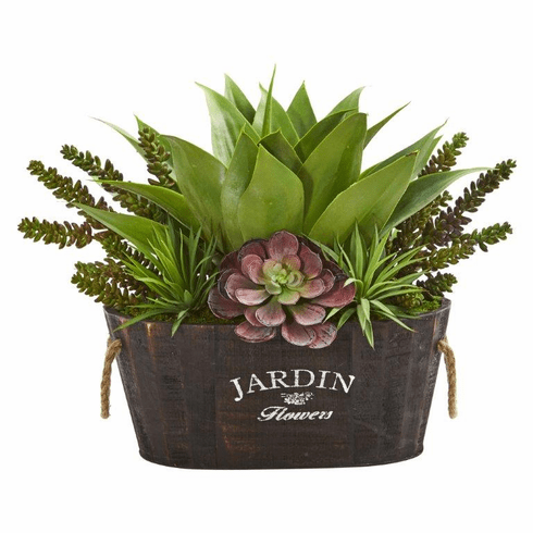 "17"" Artificial Succulent Garden Arrangement in Wood Planter"