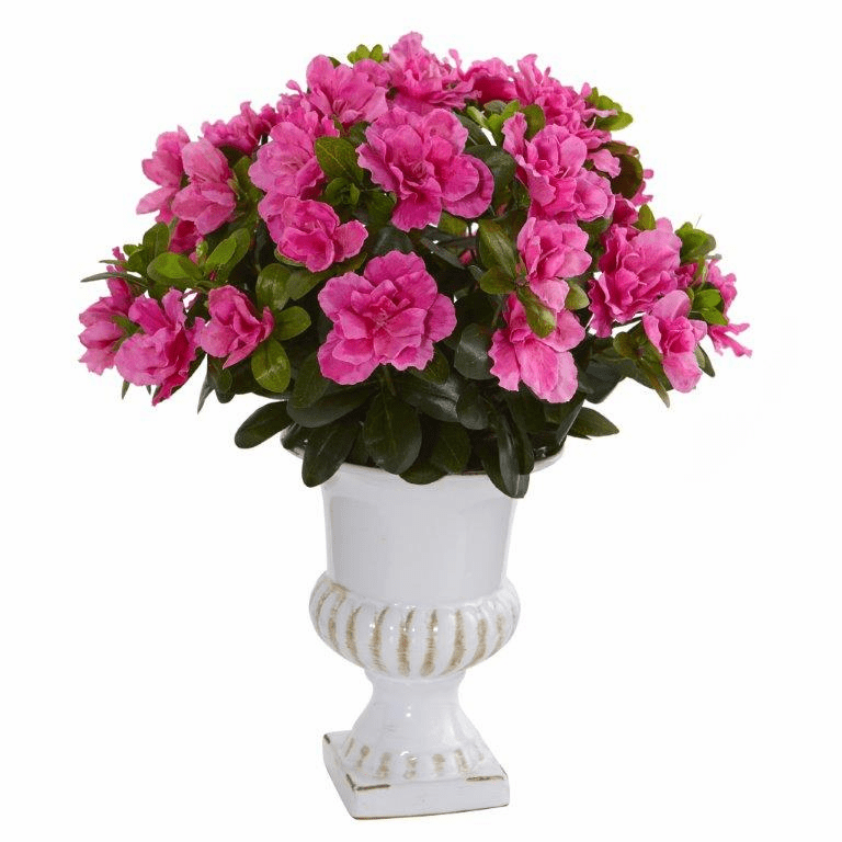 "17"" Azalea Artificial Plant in White Urn"