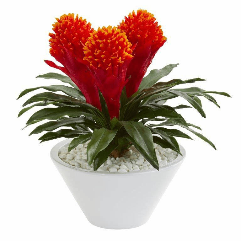 17� Bromeliad Artificial Plant in White Vase