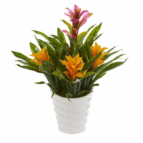 "17"" Bromeliad Artificial Plant in White  Vase - Purple Yellow"
