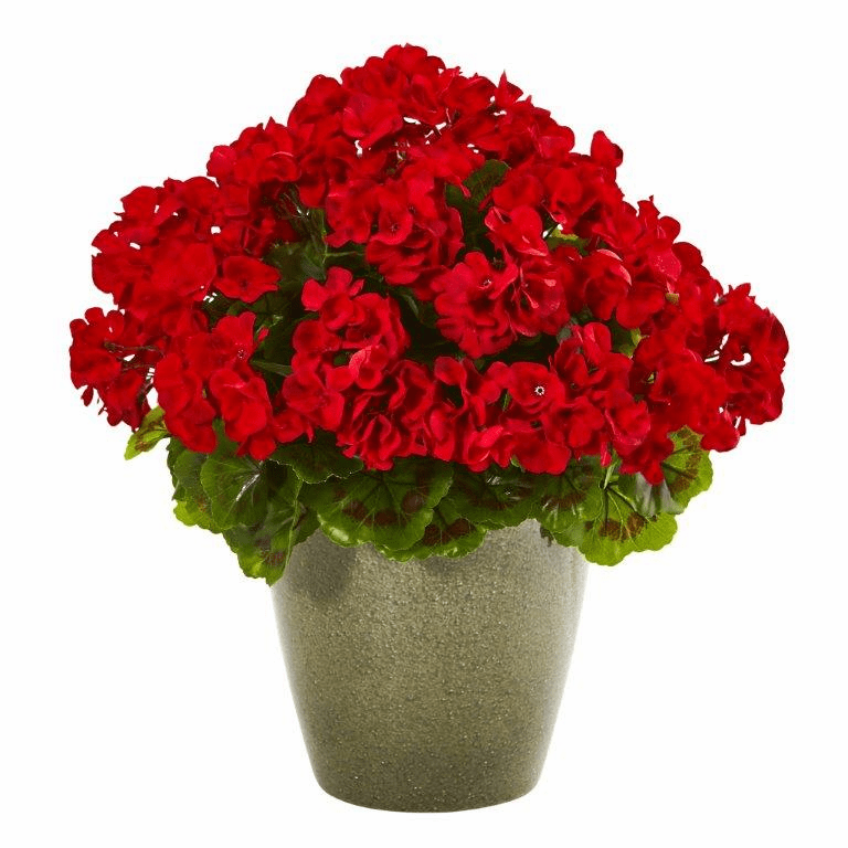 17� Geranium Artificial Plant UV Resistant (Indoor/Outdoor) - Red