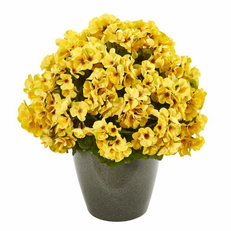 17� Geranium Artificial Plant UV Resistant (Indoor/Outdoor) - Yellow