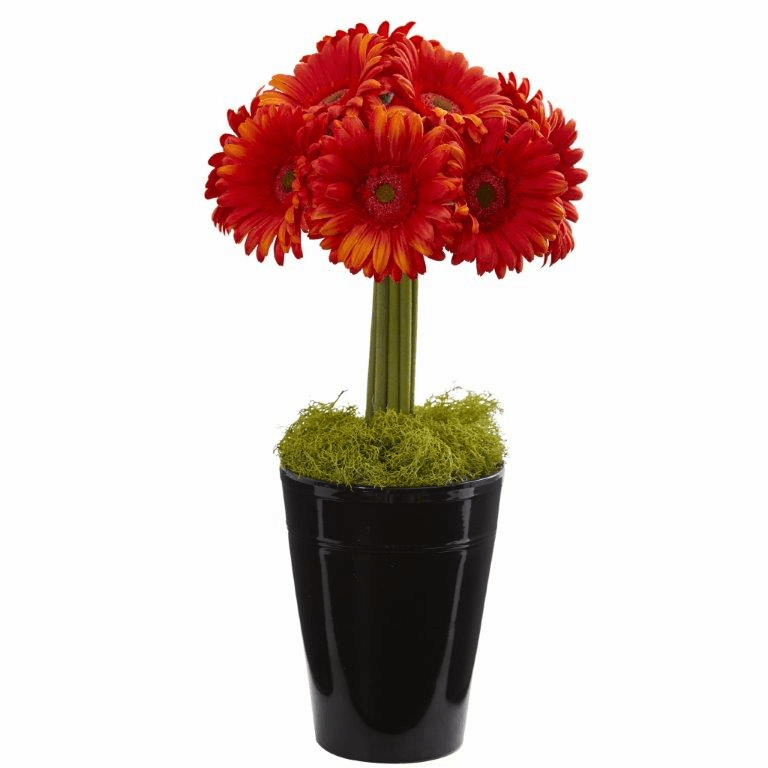 "17"" Gerber Daisy Artificial Arrangement in Black Vase - Orange"