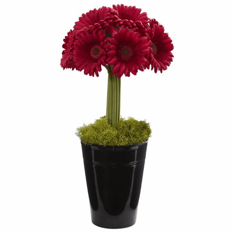 "17"" Gerber Daisy Artificial Arrangement in Black Vase - Red"