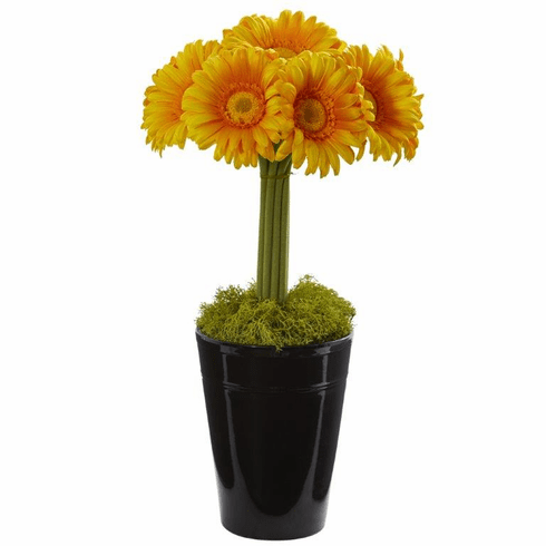 "17"" Gerber Daisy Artificial Arrangement in Black Vase - Yellow"