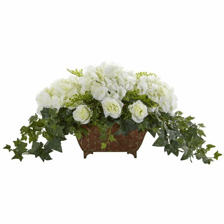 "17"" Hydrangea & Roses Artificial Arrangement in Metal Planter - White"