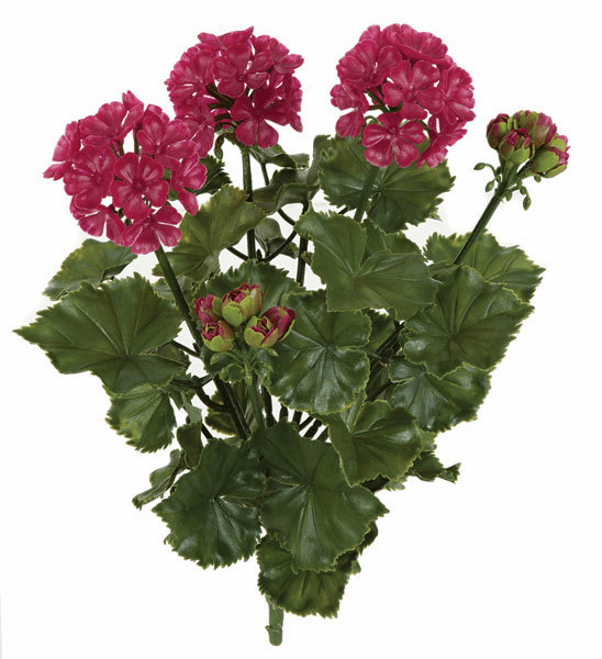 17 Inch Outdoor Artificial Geranium Bush - Set of 12 - UV Infused