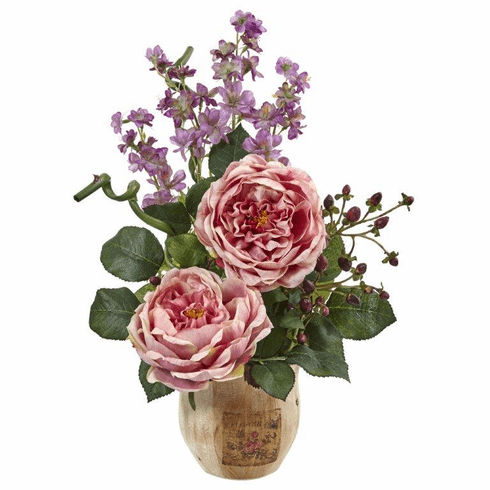 "17"" Large Silk Rose and Dancing Daisy Flowers in Wooden Pot - Pink"