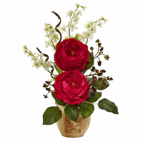 "17"" Large Silk Rose and Dancing Daisy Flowers in Wooden Pot - Red"