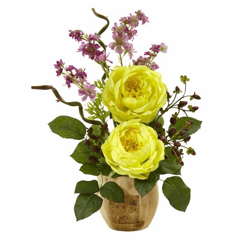 "17"" Large Silk Rose and Dancing Daisy Flowers in Wooden Pot - Yellow"