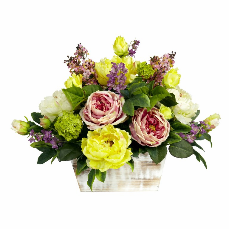 "17"" Mixed Floral with White Wash Planter Silk Arrangement"