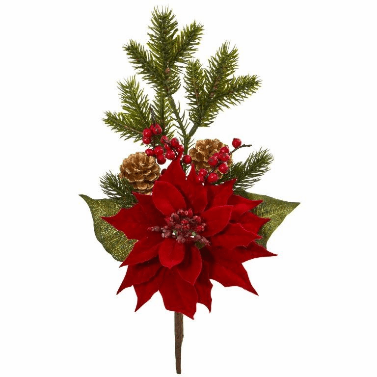 17� Poinsettia, Berry and Pine Artificial Flower Bundle (Set of 6)