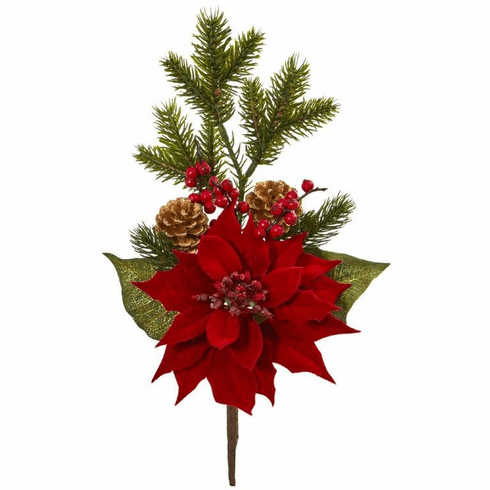 "17"" Poinsettia, Berry and Pine Artificial Flower Bundle (Set of 6)"