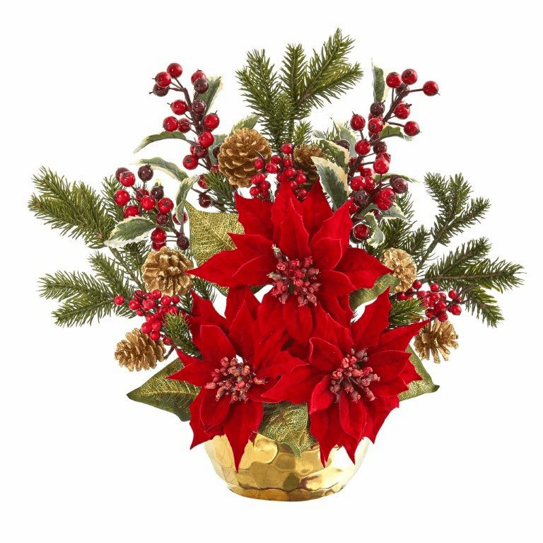17� Poinsettia, Holly Berry and Pine Artificial Arrangement  -