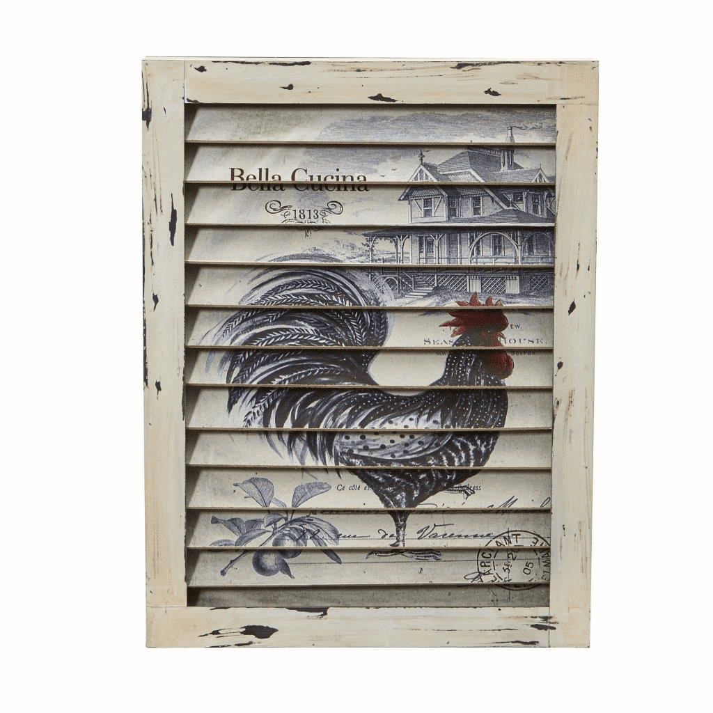 "17"" Rooster Window Shutter Wall Decor"