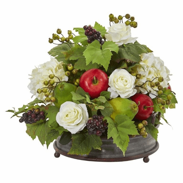 17� Rose, Hydrangea and Faux Fruits Artificial Arrangement in Metal Tray