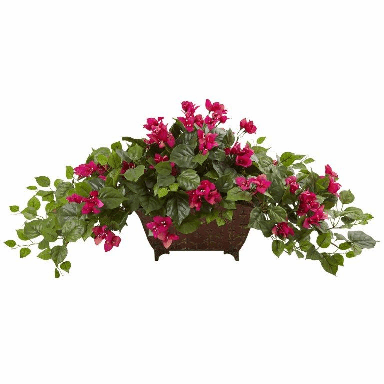 "17"" Silk Bougainvillea Flower Arrangement in Metal Planter - Beauty"