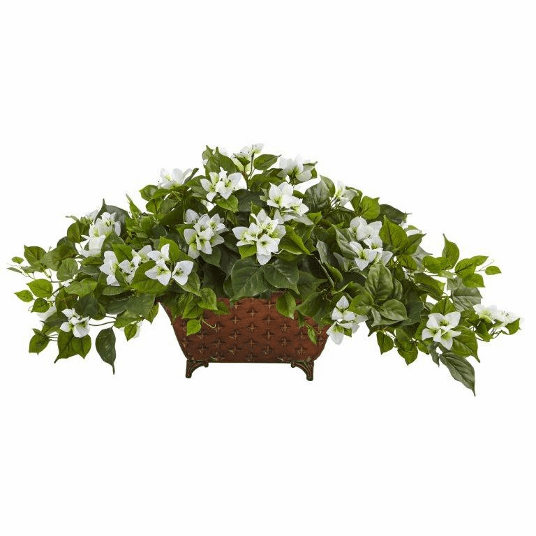 "17"" Silk Bougainvillea Flower Arrangement in Metal Planter - White"
