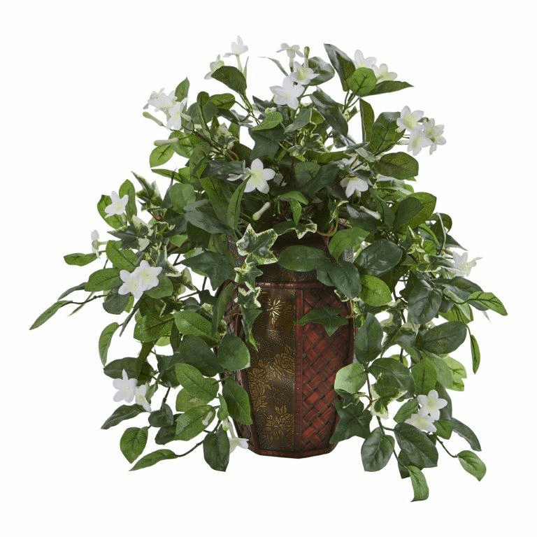 "17"" Stephanotis and Ivy Artificial Plant in Decorative Planter"