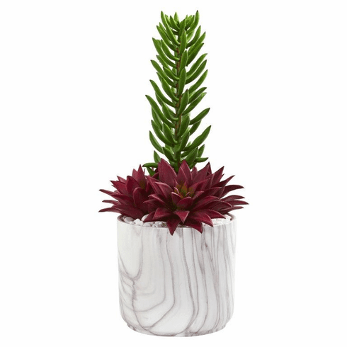 "17"" Succulent Artificial Plant in Marble Vase"
