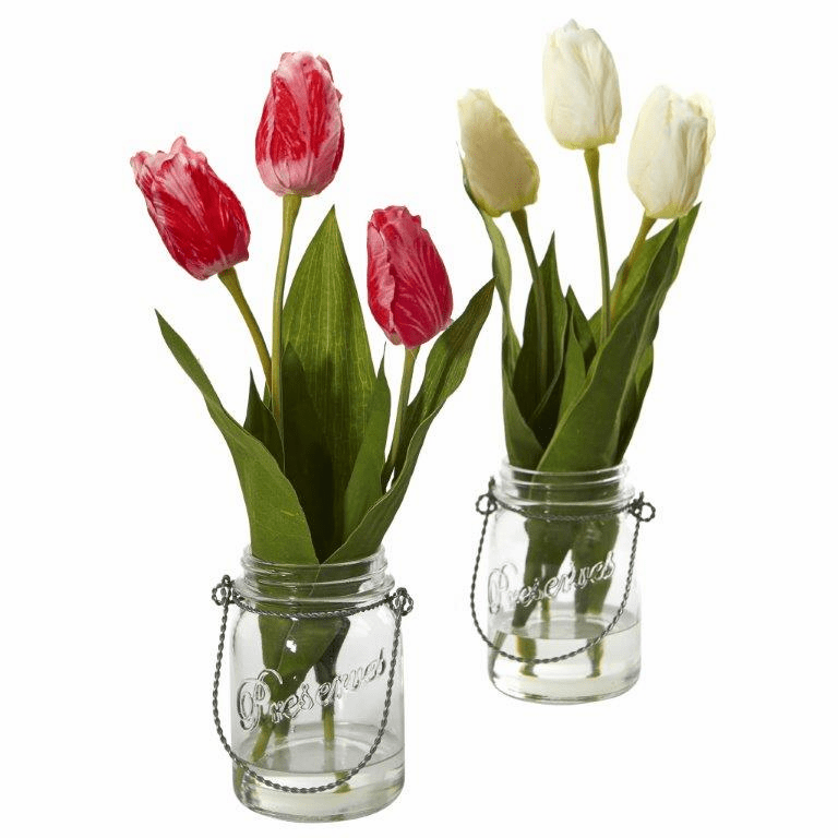 "17"" Tulip Artificial Arrangement in Jar (set of 2)"