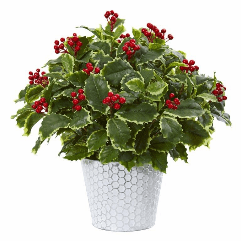 17� Variegated Holly Leaf Artificial Plant in Decorative Planter (Real Touch)  -