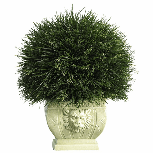 "18.5"" Potted Grass in White Vase (Indoor/Outdoor)"