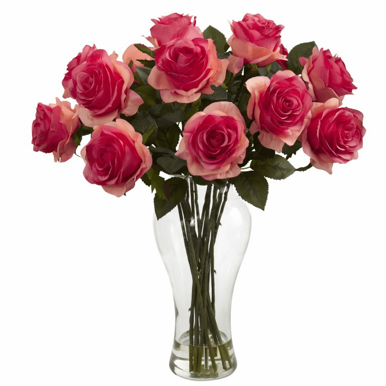 "18"" Artificial Blooming Silk Roses in Vase - Deep Pink"
